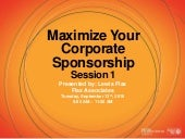 Maximize Your Corporate Sponsorship Support (Session 1) - September 13, 2016