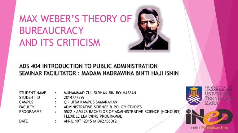 max weber s theory of bureaucracy and its criticism