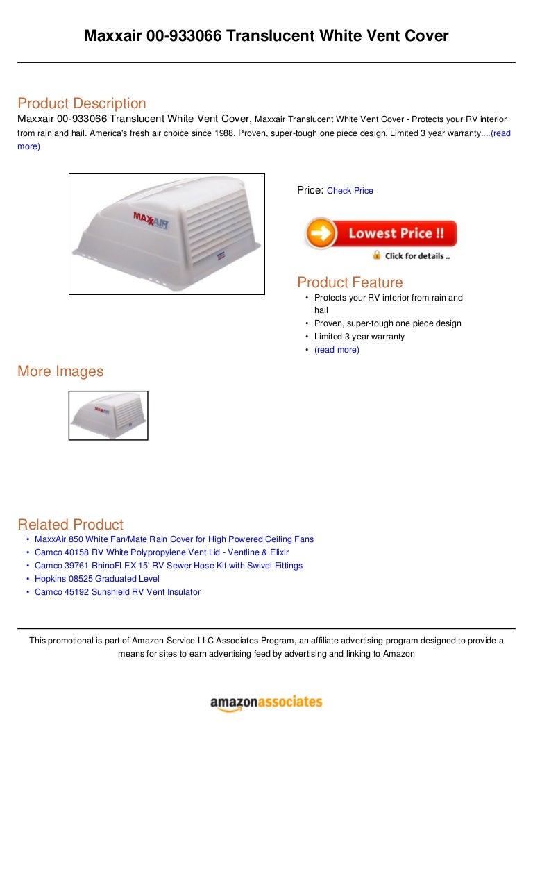 Maxxair 00 933066 Translucent White Vent Cover