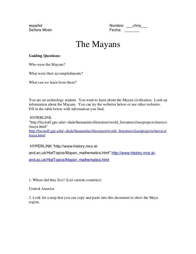 Mayan Civilization Worksheets andrewgarfieldsource – Mayan Math Worksheet