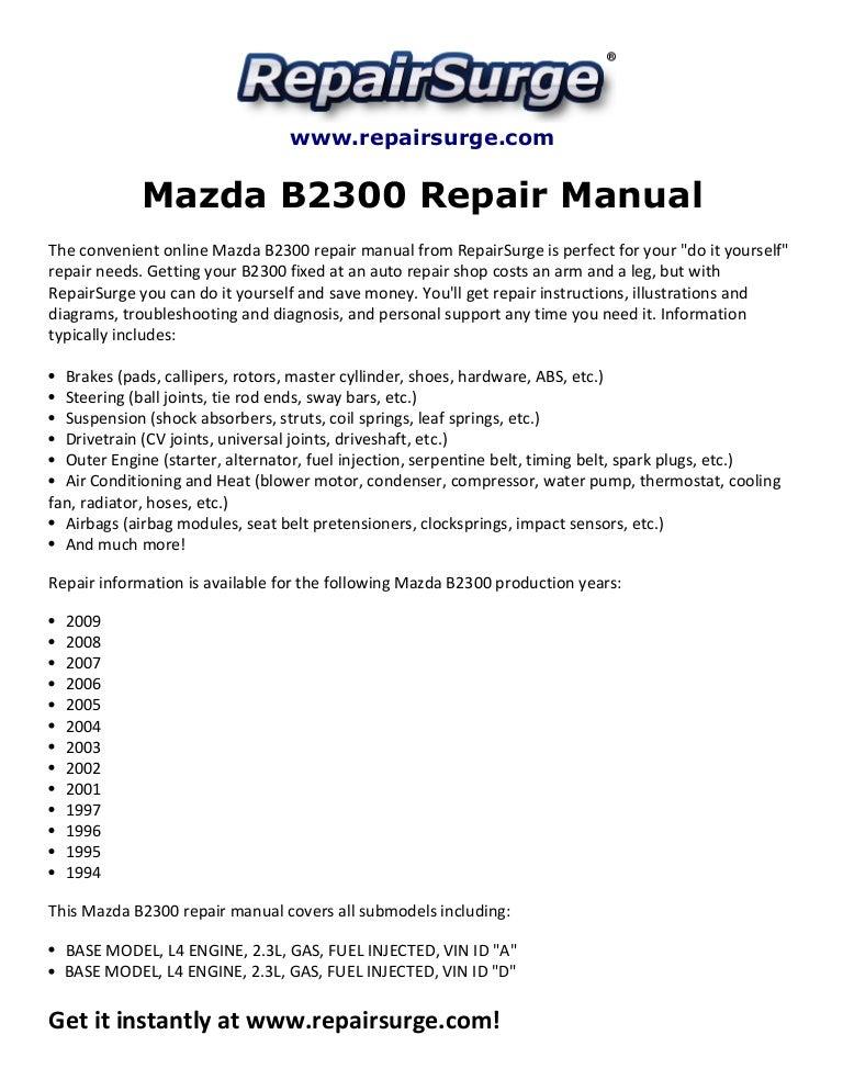 2002 mazda b2300 engine diagram mazda b2300 repair manual 1994 2009  mazda b2300 repair manual 1994 2009
