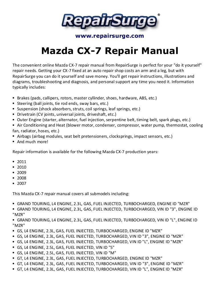 mazdacx 7repairmanual2007 2011 141110140010 conversion gate02 thumbnail 4?cb=1415628048 mazda cx 7 repair manual 2007 2011 Mazda 3 Engine Diagram at gsmx.co