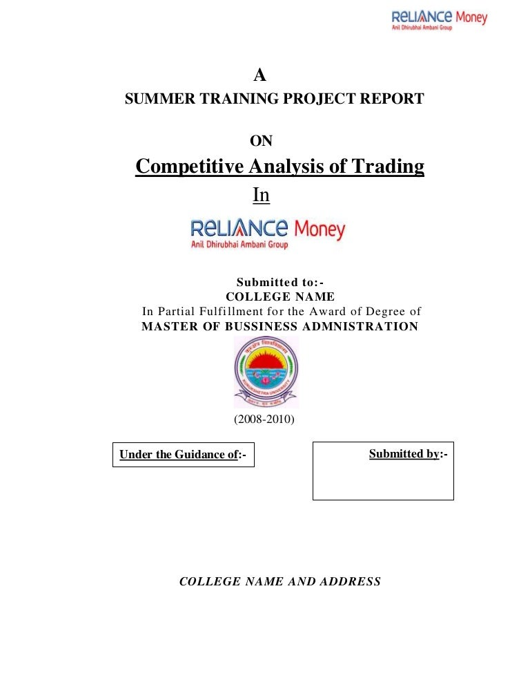 Mba FinanceProjectReportOnACompetitiveAnalysisOfTradingInRe