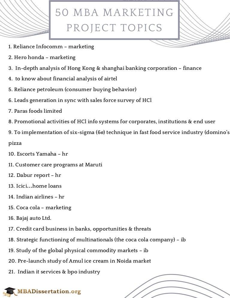 Mba Marketing Project Topics Advertising Dissertation