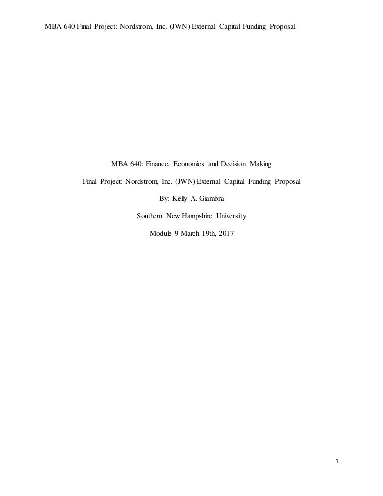 Mba 640 Final Project External Capital Funding Proposal