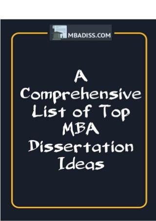 List of Best MBA Research Topics and Aims