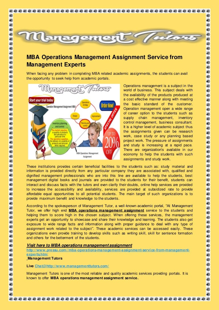 mba operations management assignment service from management experts