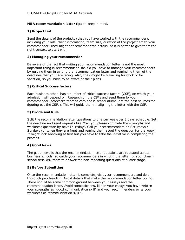mba recommendation letter tips