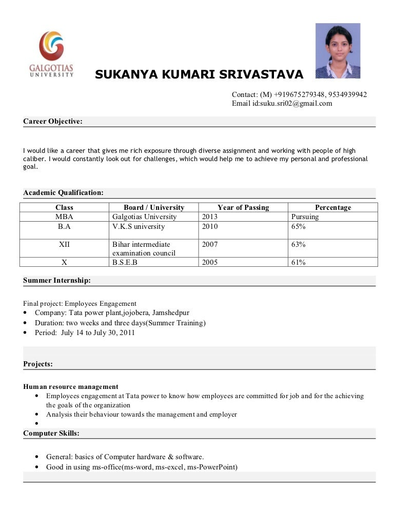 latest resume format for freshers mba hr