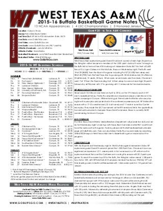 WT Men's Basketball Game Notes (2-16-16)