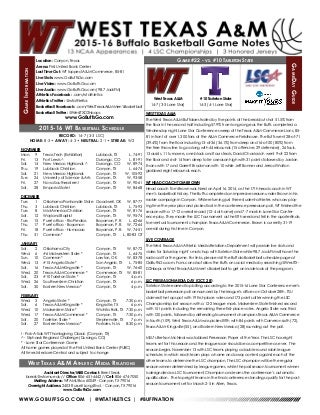 WT Men's Basketball Game Notes (1-23-16)