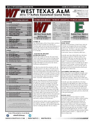 WT Men's Basketball Game Notes (1-25-17)