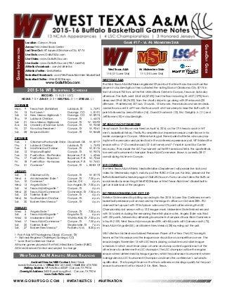 WT Men's Basketball Game Notes (1-5-16)