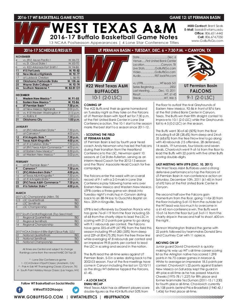 WT Men's Basketball Game Notes (12-5-16)