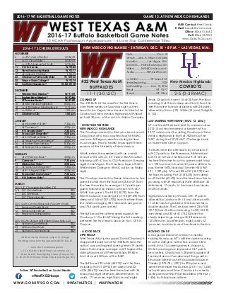 WT Men's Basketball Game Notes (12-8-16)
