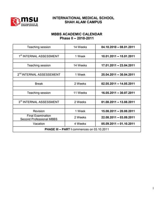 Mbbs academic calendar phase ii 2010 2011 s.alam
