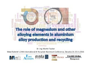The role of magnesium and other alloying elements in aluminium alloy production and recyc