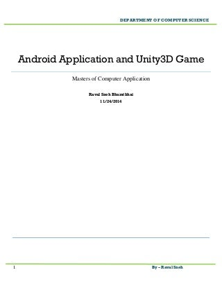 Android Application And Unity3D Game Documentation