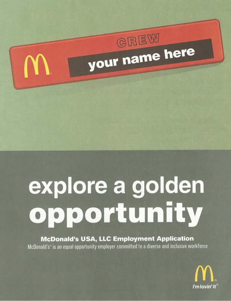 Mc Donalds Job Application
