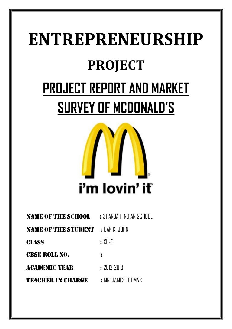 Project Report And Market Survey of McDonald's- Cbse class