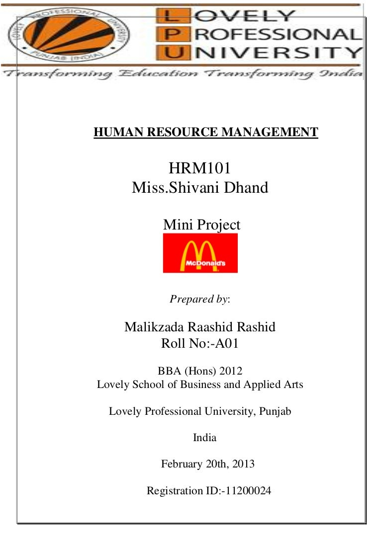 mcdonalds mini project recruitment process t d