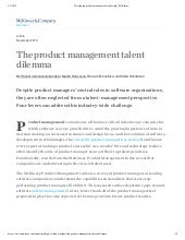 McKinsey's Assessment on PM Careers