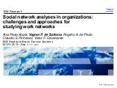 MCPL2013 - Social network analyses in organizations: challenges and approaches for studying work networks