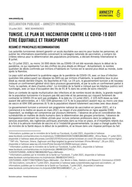 Tunisie : Le plan de vaccination contre le covid-19 doit être équitable et transparent
