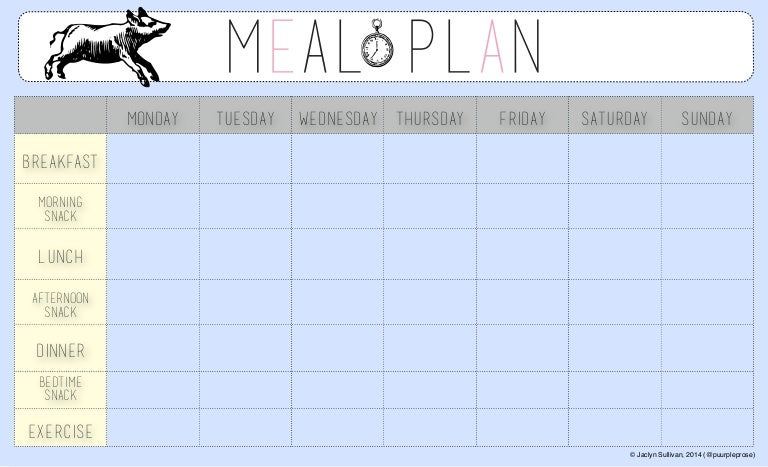 weekly meal planner template with snacks