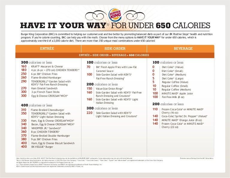 Burger King Meals Under 650 Calories