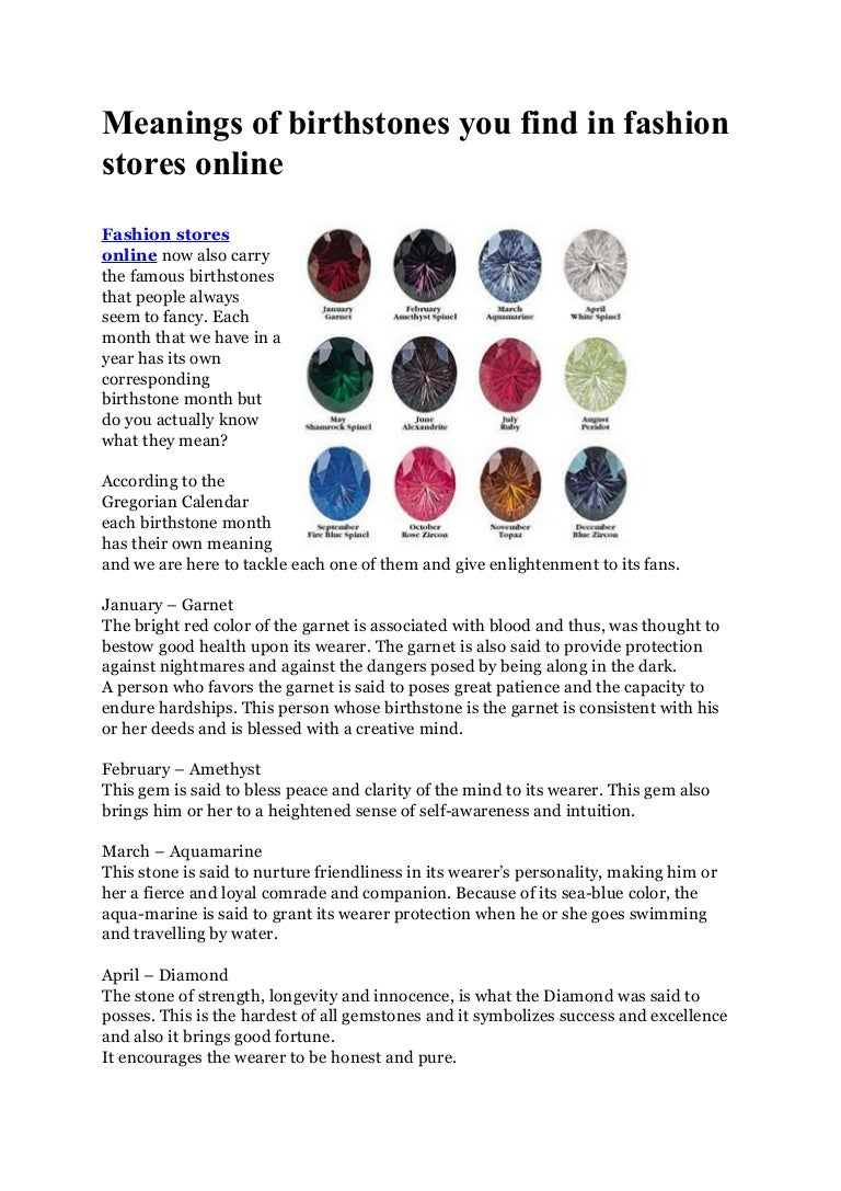 Meanings of birthstones you find in fashion stores online
