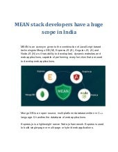 Mean stack developers have a huge scope in india