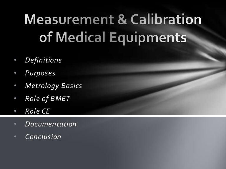 Measurement Calibration Of Medical Equipments