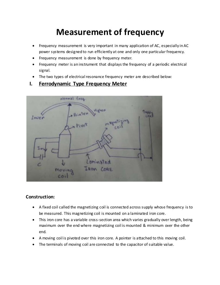 Measurement of frequency notes