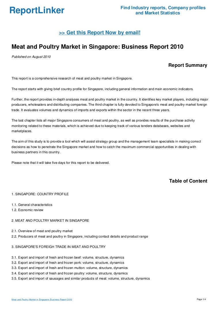 Meat and Poultry Market in Singapore: Business Report 2010