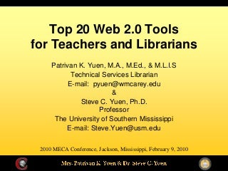 Top 20 Web 2.0 Tools for Teachers and Librarians