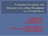Promoting Creativity and Collaboration in Your Classroom with Google Docs