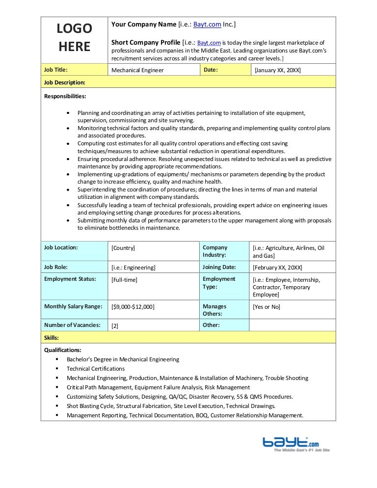 Mechanical Engineer Job Description Template By Bayt.Com