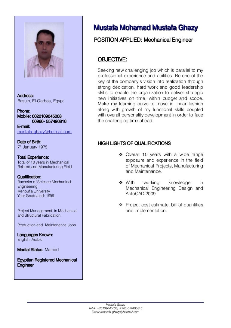 mechanical engineering resume template mechanical engineer cv 23599 | mechanicalengineercv 111208002709 phpapp01 thumbnail 4