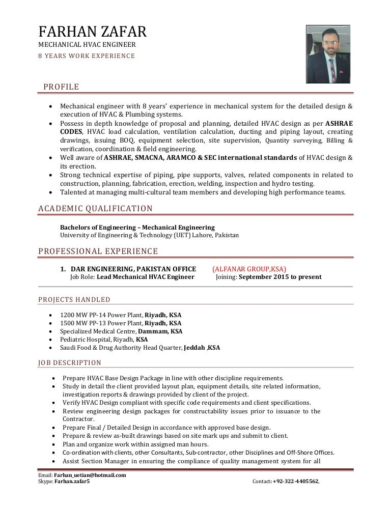 Sr. Mechanical Hvac Engineer Cv
