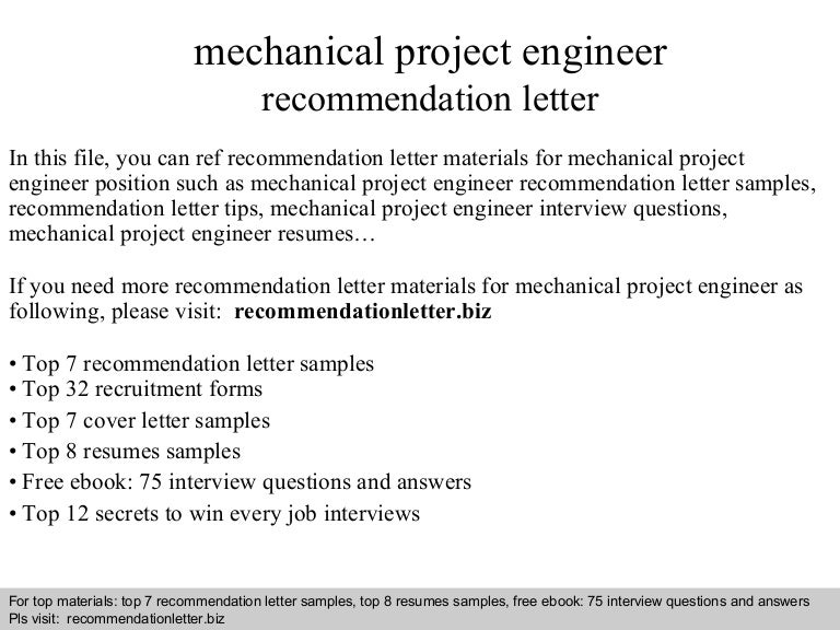 Mechanical Project Engineer Recommendation Letter