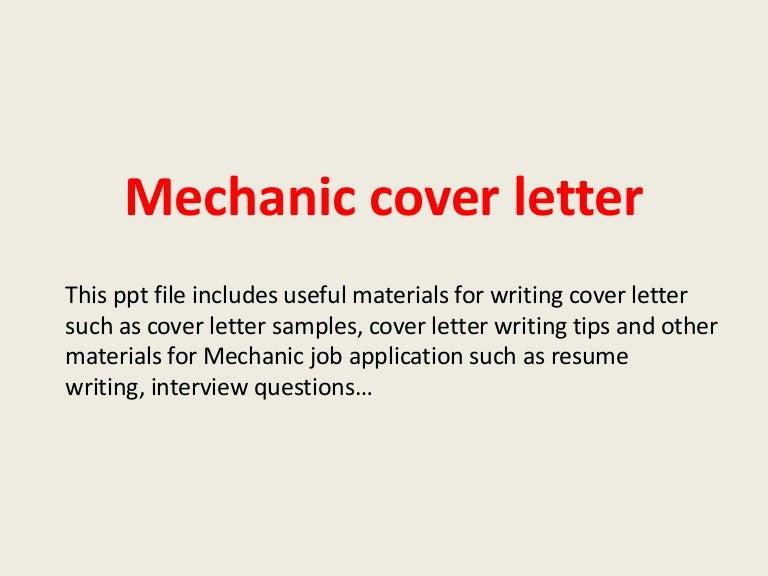 Cover Letter Mechanic. 2 Diesel Mechanic Cover Letter Sample ...