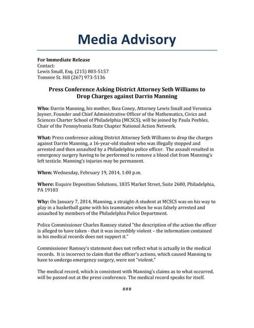 Riverwood mhs media advisory 2011