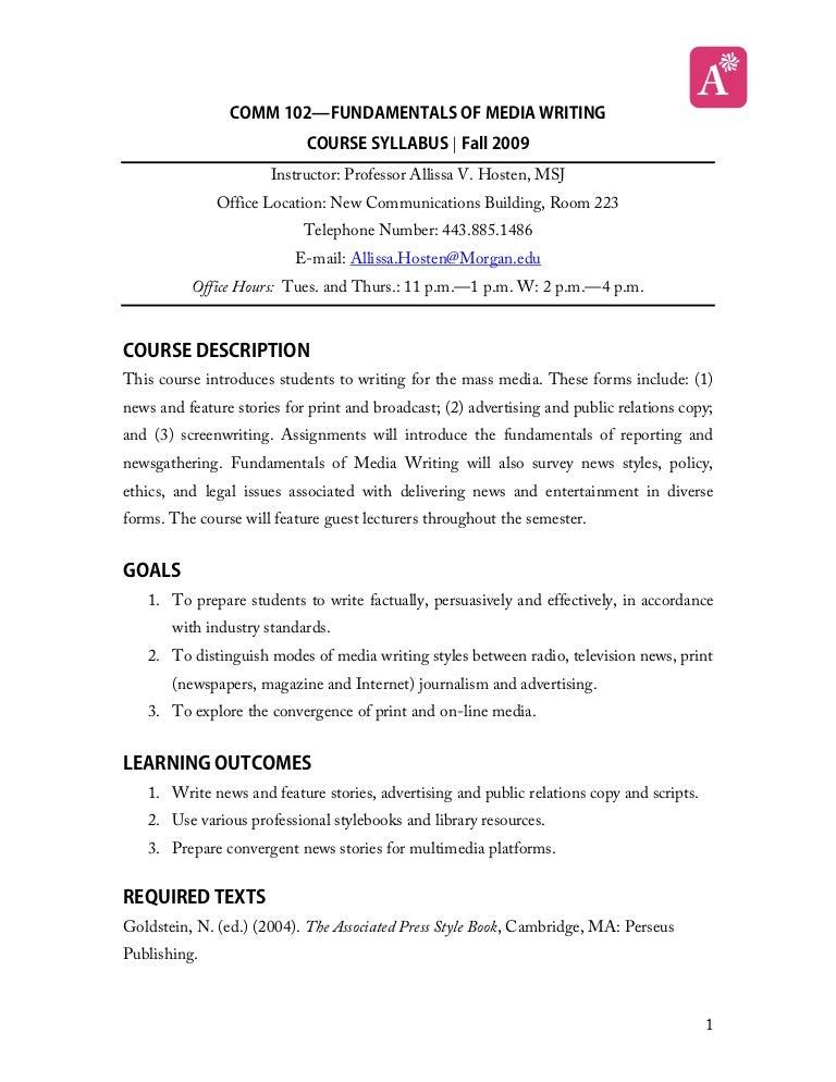 Media writing syllabus