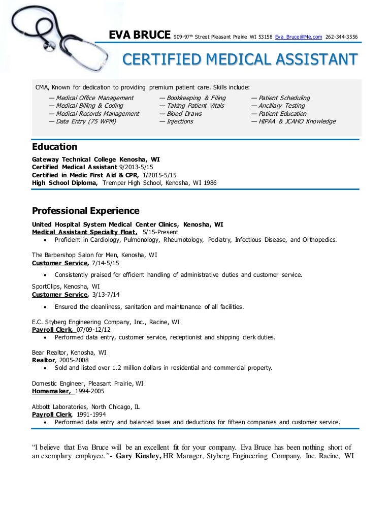 certified medical assistant resume eva bruce - Certified Medical Assistant Resume