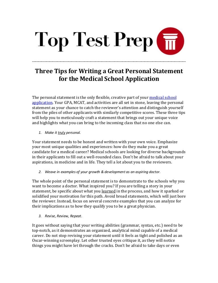 High Quality How To Write A Personal Statement For Medical School Sample