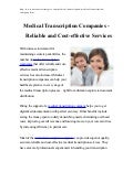 Medical Transcription Companies - Reliable and Cost-effective Services
