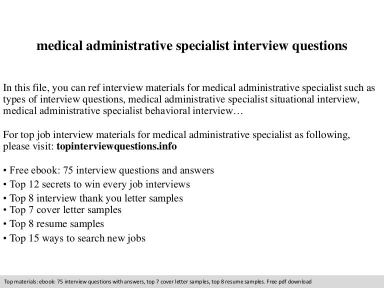 Medical administrative specialist interview questions