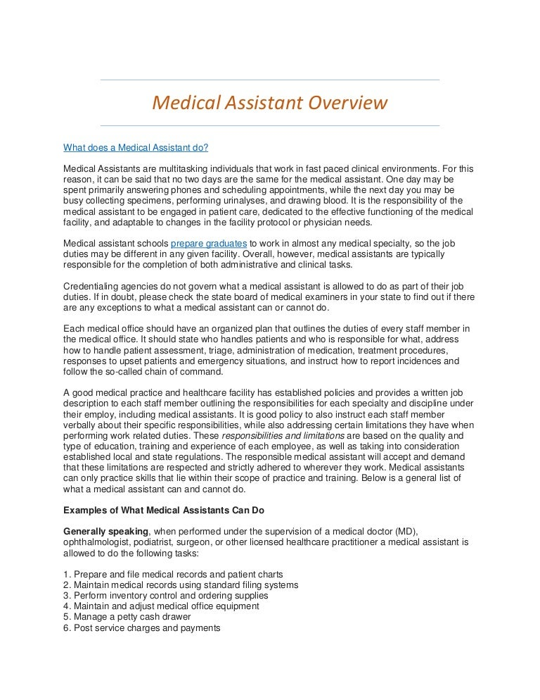 Medical Assistant Overview  What Do Medical Assistants Do