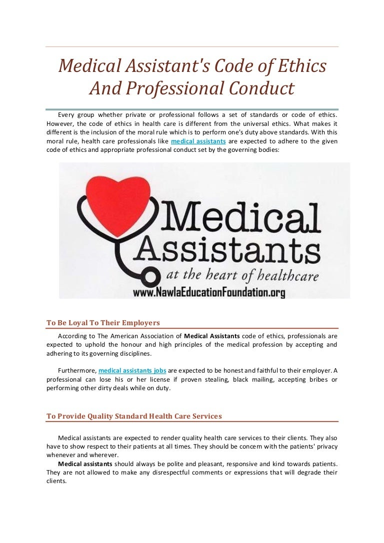 Medical assistant's code of ethics and professional conduct medical…